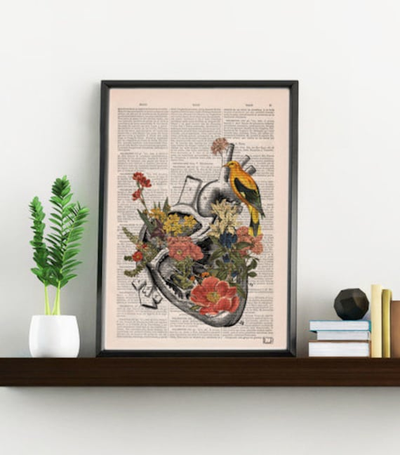Flowery Heart with bird. Anatomy Print - digital,Anatomy art, love wall art, human science & anatomy art SKA110b