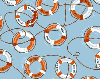 Ink & Arrow In Deep Ship Alicia Jacobs Dujets Light Blue Life Preserver Ring Fabric 26456-B BTY