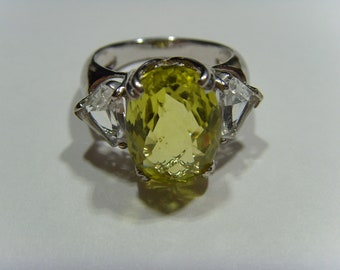 Sterling silver Lemon Citrine & Glacier Topaz Ring  healer chakra lapidary