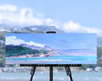 Blue beach painting, beach decor, land sea sky, original art, summer art, New Zealand art, NZ seascape, landscape painting, free shipping