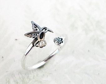 Bird ring, Sterling Silver, Hummingbird, flower, adjustable, Nature jewelry