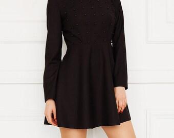 Black hand embellished dress Black mini dress Mini dress Embroidered dress Black dress Casual dress Party dress Skater dress  Trendy dress