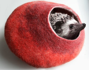 Cat Hedgehog / Nap Cocoon / Cat Cave / Bed / House / Pot - Hand Felted Wool - Crisp Contemporary Design - READY TO SHIP Orange Red Bubble