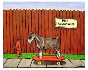 Schnauzer Riding a Skateboard Dog Art Print