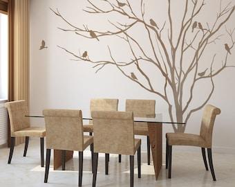 Vinyl Art Realistic Winter Tree Branch Stick On Wall Art Wall Sticker  Decals Home Decor Art