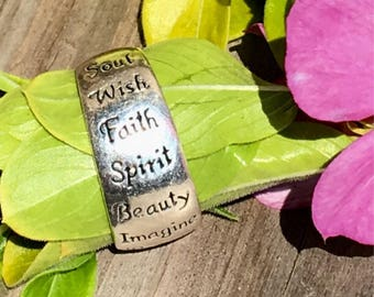 Vintage Sterling Silver Inspirational Words Ring Size 7