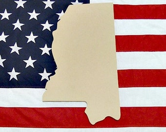 Mississippi Unfinished Wooden State Craft Decorable Shape