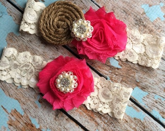 SHOCKING PINK  Burlap garter /wedding garter / bridal  garter /  garter / barn rustic wedding garter / vintage inspired lace garter