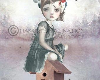 Big Eyed Girl Art Print | Big Eyes Art Print | Girl & Woodpecker | A4 Art Print | Far From Home
