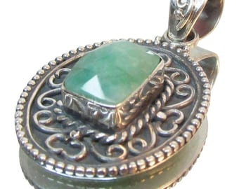 Natural Green Quartz Sterling Pendant Vintage