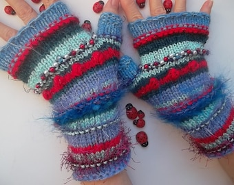 Women M 20% OFF Gloves Boho Accessories Bohemian Fingerless Ready To Ship Hand Knitted Mittens Striped Warm Wrist Warmers Winter Cabled 1147