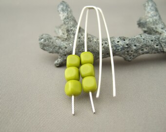 Chartreuse Green Cube Earrings - Lemon Lime Czech Glass and Sterling Silver Modern Earrings