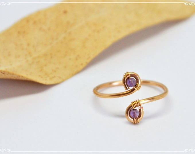Featured listing image: Minimalist ring for women Amethyst simple delicate jewelry dainty Gold plated wire ring Gemstone Adjustable Gift for girlfriend her women