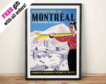 MONTREAL TRAVEL POSTER: Vintage Skiing Travel Advert Reproduction Art Print Wall Hanging