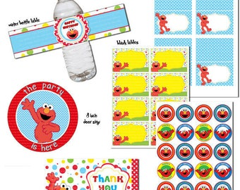INSTANT DL-  ELMO - Printable Birthday party Package digital file (not editable)