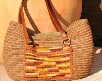 outside pocket-crocheted raffia handbag handmade raffia bag with outside pocket