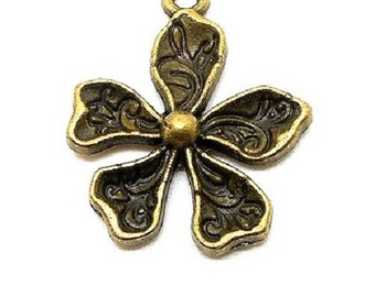 bronze metal worked flowers charm