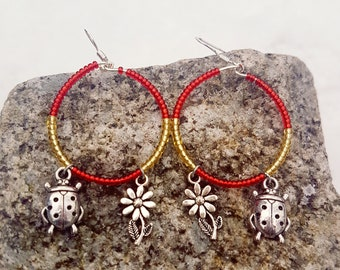 Cute Red and Yellow Hoop Earrings with Ladybird and Flower, gift for her