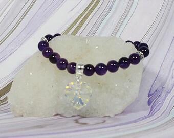 Amethyst Swarovski Heart Bracelet    - Good for meditation                                                001479
