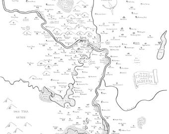 Fantasy map of Calgary