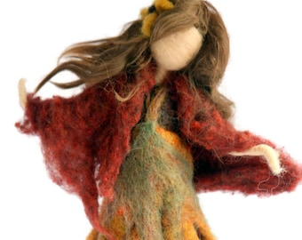 Waldorf Inspired Needle Felted Autumn Maiden Fairy for Nature Table-Made to Order