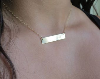 Name Necklace Gold Filled Bar Necklace Sterling Silver Necklace Gift for Her Mothers Day Gift Monogram Necklace Custom Necklace   L12H5