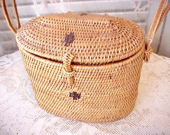 Darling Antique Woven Natural Fiber Purse From Collection of Asian Antiques