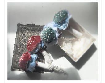 Reserved for Minalulu..rose velvet top mushrooms.