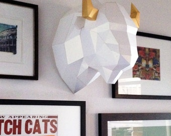 Paper Bison Wall Mount - Make your own using this simple PDF download