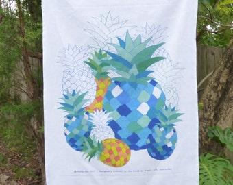 Tea towel, linen, cotton, kitchen tea towel, pineapple tea towel, tropical fruit, fruit