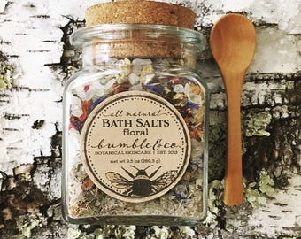 Birthday Spa Gift | Bath Salts | All Natural Gift For Her | Botanical Bath Soak | Himalayan Bathing Salts | Floral Bath Salts | Gift for Her