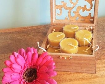 Handmade, 100% pure, natural, 9 x beeswax, tealights, presented in a medium, Wooden, Decorative, Box, hand stained, with Fretwork Lid