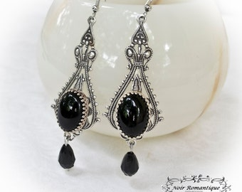 Silver victorian gothic onyx earrings -Victorian gothic earrings-cameo earrings-gothic jewelry