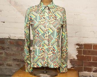Vintage 1960s Geometric Patterened Collared Shirt / Size Medium