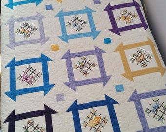 "Price Reduced!  Churn Dash Butterflies lap quilt, 62.5""x50.5"""