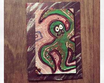 Octo-splatter- original mixed-media art