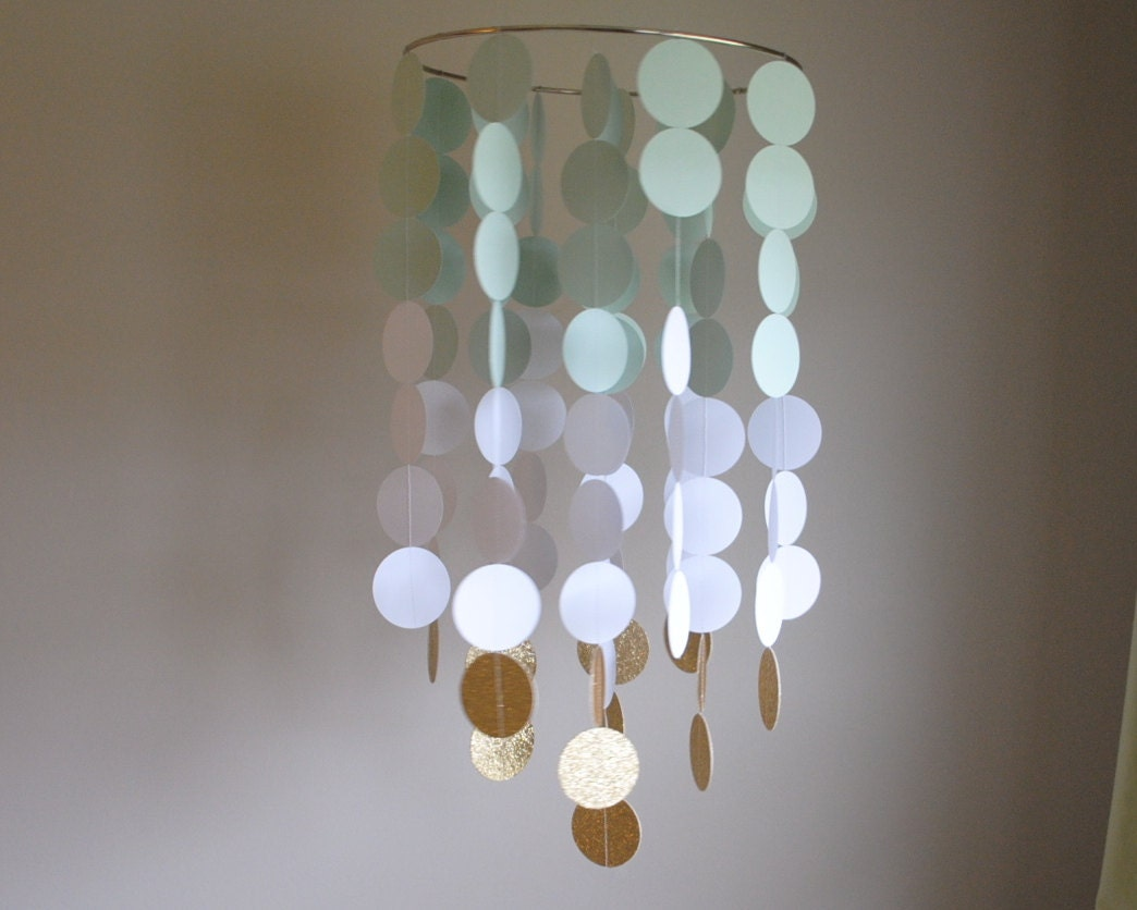 Light mint greenwhitegold chandelier mobile nursery mobile zoom aloadofball Image collections