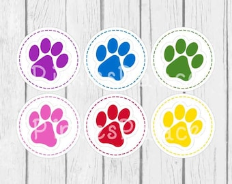 Animal Paw Print Stickers Envelope Seals Purple Blue Green Pink Red Yellow SES375