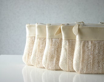 Bridesmaid lace clutch bags, Romantic Ruched bridesmaids bags, Set of 5, Pleated lace, Pearl leather, Choose your colour