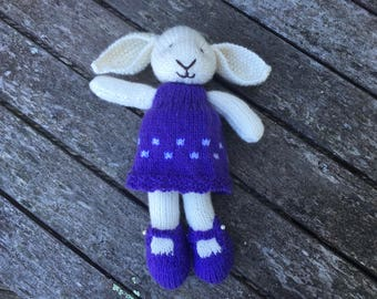 Hand knitted bunny, knitted rabbit, Esmee the bunny