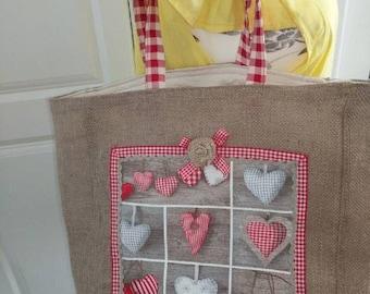 Christmas burlap tote bag/ Hessian tote bag/ Christmas gift bag/ Christmas shopping tote.