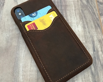 Iphone X Leather Wallet Case, ENGRAVED iphone X Credit Card Case, Slim Fit iphone X Wallet Case, Minimalistic iphone X Wallet Case - Natural