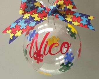 Autism Awareness Ornament, Autism Ornament, Personalized Ornament, Christmas Ornament, Custom Ornament, Puzzle Pieces