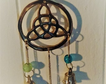 Three celtic knots with bells and beads wind chimes in brass