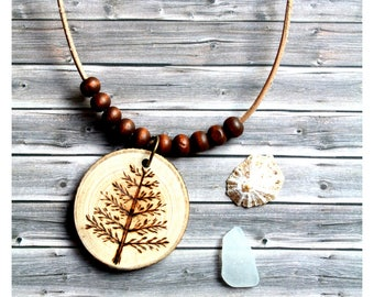 Wood necklace  tree