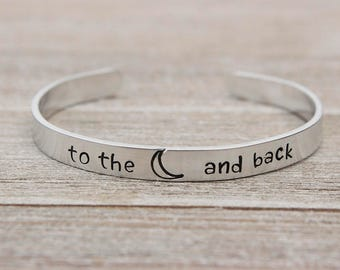TO the MOON and BACK - Bracelet - Gift for Loved Ones - Jewelry - Stamped Metal Bangle - One Size Fits All