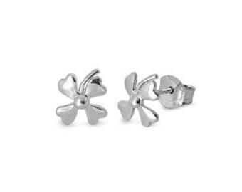 Clover Sterling Silver Stud Earrings 7mm - Sterling Silver Flower Clower Post Earrings - Child Studs