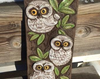 keramik relief Keramik owl | Etsy keramik relief