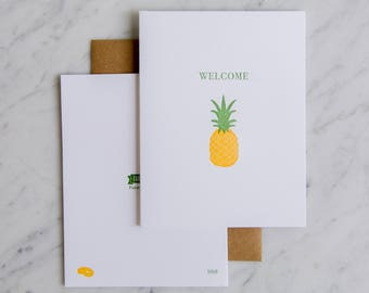 Welcome Home - Pineapple - Letterpress Welcome card - Housewarming