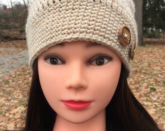 MADE TO ORDER: Soft Tan/Beige Slouch Hat - Beanie - Crocheted with Buttons